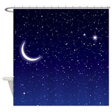 Night Sky with Moon and Stars Shower Curtain