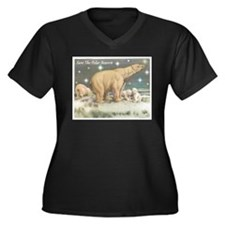 Polar Bears Women's Plus Size V-Neck Dark T-Shirt