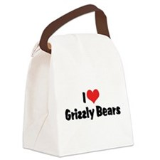 I Love Grizzly Bears Canvas Lunch Bag