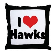 I Love Hawks Throw Pillow
