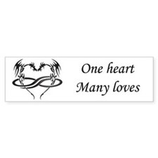 One Heart Poly Dragon Bumper Bumper Sticker