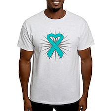 Ovarian Cancer Heart Ribbon T-Shirt
