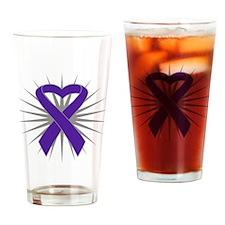 Pancreatic Cancer Heart Drinking Glass