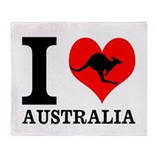 I Love Australia Throw Blanket