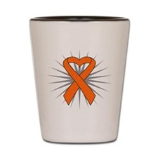 Skin Cancer Heart Ribbon Shot Glass