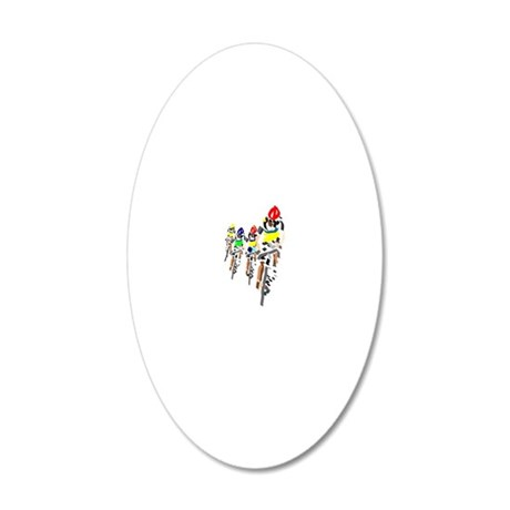 Cyclists 20x12 Oval Wall Decal