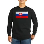 Slovakia Blank Flag Long Sleeve Black T-Shirt
