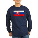 Slovakia Blank Flag Long Sleeve Blue T-Shirt