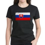 Slovakia Blank Flag Women's Black T-Shirt