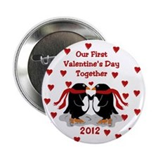 Penguin 1st Valentine's Day Button