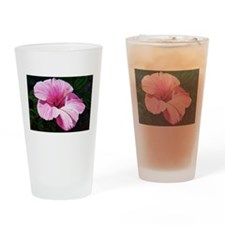 Pink Hibiscus Drinking Glass