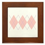 """Pink Argyle"" Framed Tile"