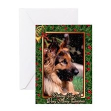 Long Haired German Shepherd Dog Christmas Greeting