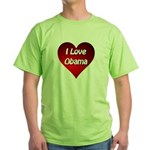 I Love Obama 2012 Green T-Shirt