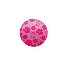 Pink Honu and Hibiscus Mini Button