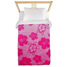 Pink Honu and Hibiscus Twin Duvet