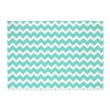 Aqua White Chevron Stripes Pattern 5'x7'Area Rug