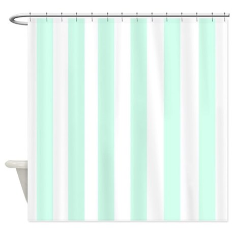Mint Stripes Shower Curtain by FamilyFunShoppe