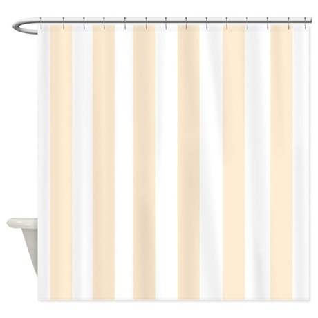 Light Peach Stripes Shower Curtain by FamilyFunShoppe