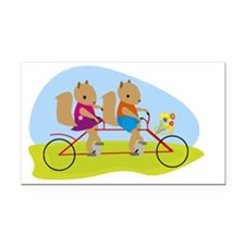 Squirrels on a Tandem Bike Rectangle Car Magnet