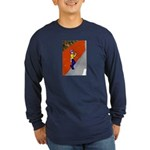 Man Leaning Against Wall Long Sleeve Dark T-Shirt