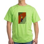 Man Leaning Against Wall Green T-Shirt