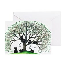 Borders Black Cats in Tree Greeting Card