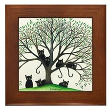 Borders Black Cats in Tree Framed Tile