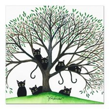 "Borders Black Cats in Tr Square Car Magnet 3"" x 3"""