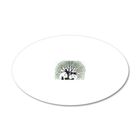 Borders Black Cats in Tree 20x12 Oval Wall Decal