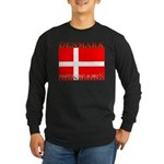 Denmark Danish Flag Long Sleeve Black T-Shirt