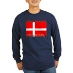 Denmark Danish Flag Long Sleeve Blue T-Shirt