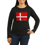 Denmark Danish Flag Womens Long Sleeve Brown Shirt
