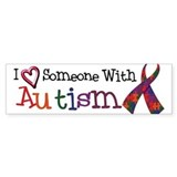 Autism Awareness Love w/Ribbon Bumper Car Sticker
