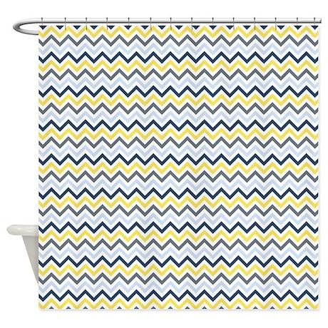 Blue Yellow And White Chevron Shower Curtain By Zenchic