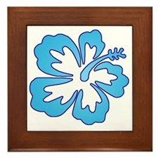 Blue Surf Flowers Framed Tile
