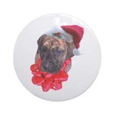 Brindle Santa Pup Ornament (Round)