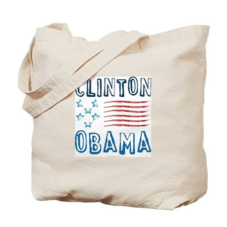 Clinton Obama Distressed Tote Bag