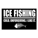 ICE FISHING Rectangle Bumper Stickers