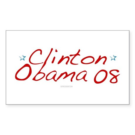 Clinton Obama 08 Rectangle Sticker