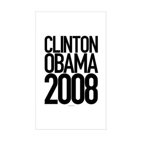 Clinton Obama 2008 Rectangle Sticker