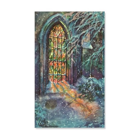 Vintage Church Stained Glass Wind 20x12 Wall Decal
