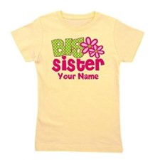 Big Sister Pink Green Personalized Girl's Tee