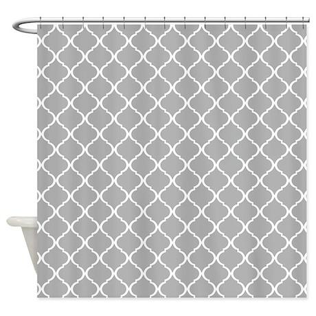 Elegant Light Grey Moroccan Lattice Shower Curtain By Doodles Design