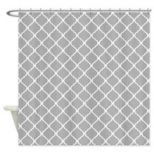 Elegant Light Grey Moroccan Lattice Shower Curtain
