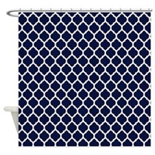 Navy Blue Moroccan Lattice Shower Curtain