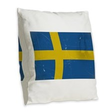antiqued swedish flag Burlap Throw Pillow
