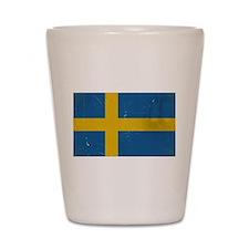 antiqued swedish flag Shot Glass