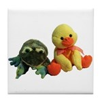 Frog and Ducky friends Tile Coaster