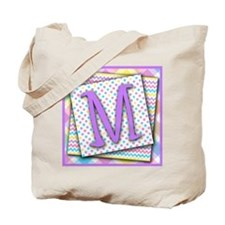 Letter M Triple Pattern Canvas Totebag